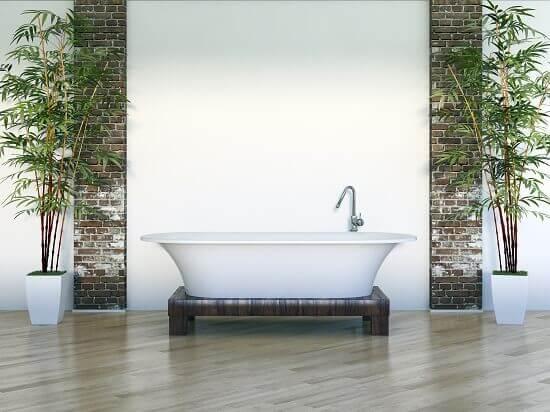 פרקט למינציה עמיד למים בחדר האמבטיה